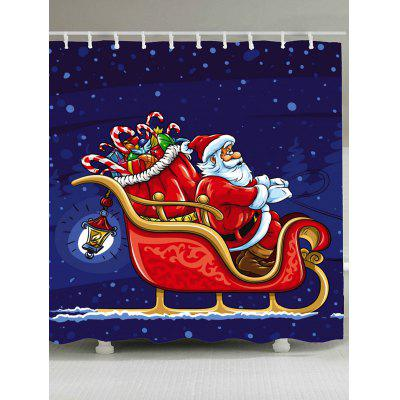 Waterproof Father Christmas and Carriage Pattern Shower Curtain