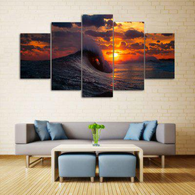 Ocean Wave Sunset Print Unframed Canvas Split Paintings