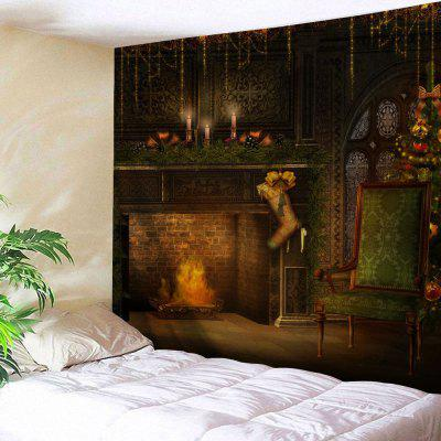 Christmas Fireplace Print Wall Art Tapestry