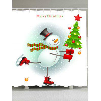 Skating Christmas Snowman Pattern Waterproof Shower Curtain