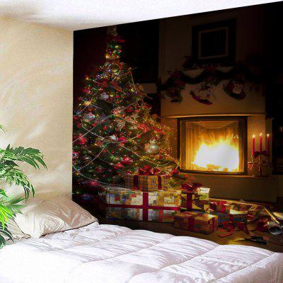Christmas Tree Fireplace Print Wall Tapestry