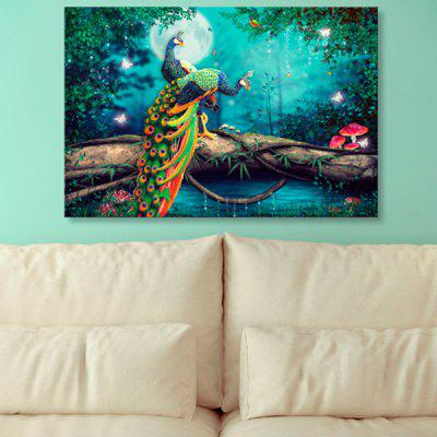 Buy MALACHITE GREEN Peacock Wonderland Print Wall Art Canvas Painting for $18.18 in GearBest store