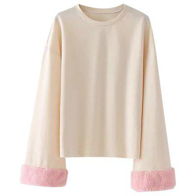 Fuzzy Sleeve Drop Shoulder Sweatshirt