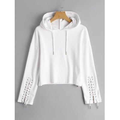 Lace Up Sleeve Loose Cropped Hoodie