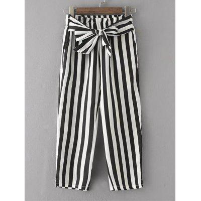 Stripes Bowknot Straight Pants