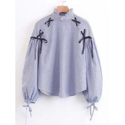 Stripes Criss Cross Ruffles Blouse
