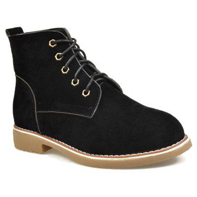 Buy BLACK Faux Suede Lace Up Ankle Boots for $29.80 in GearBest store