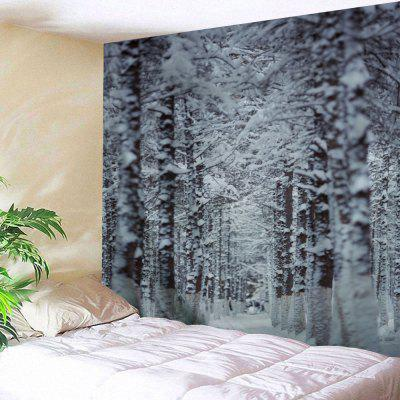 Christmas Snow Forest Path Wall Tapestry