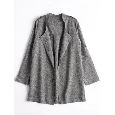 Open Front Heathered Coat