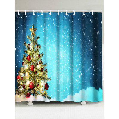 Snow Covering Christmas Tree Pattern Bath Curtain