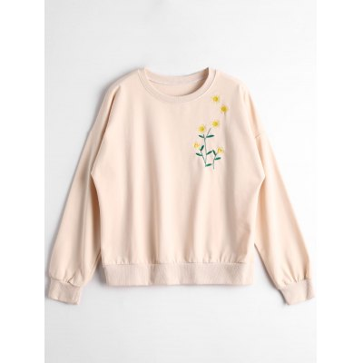 Sunflower Embroidered Crew Neck Sweatshirt