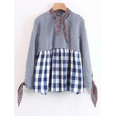 Checked Bow Tied Loose Blouse