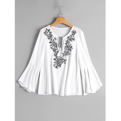 Tassels Embroidered Flare Sleeve Blouse
