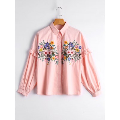 Ruffles Loose Floral Embroidered Shirt