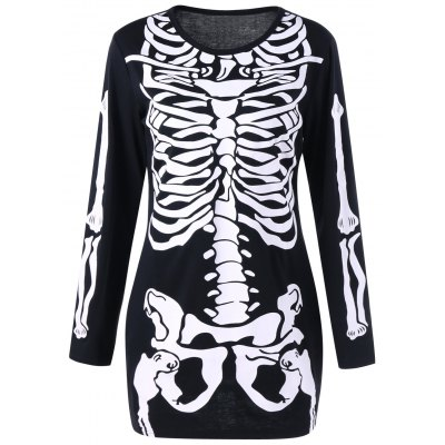 Buy BLACK Halloween Skeleton Long Sleeve Color Block Dress for $21.39 in GearBest store