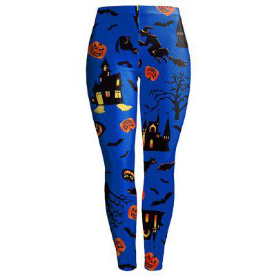 Buy BLUE L Scary Halloween Leggings for $17.41 in GearBest store