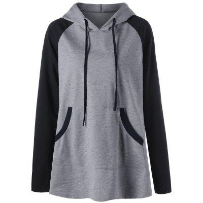 Buy GRAY 2XL Plus Size Hooded Front Pocket Raglan Sleeve T-shirt for $22.39 in GearBest store