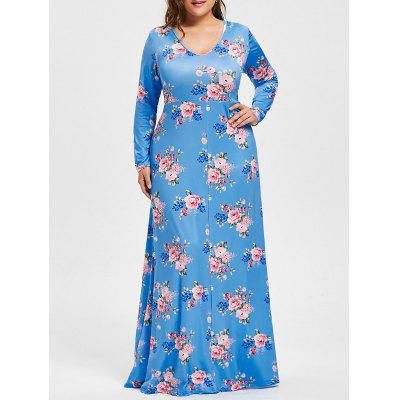 Buy AZURE 3XL Plus Size V Neck Floral Print Maxi Dress for $26.83 in GearBest store
