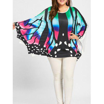 Buy COLORFUL 2XL Plus Size Asymmetrical Butterfly Poncho Tee for $19.37 in GearBest store