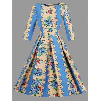 Buy AZURE 2XL Plus Size Floral Print Boat Neck Dress for $29.27 in GearBest store