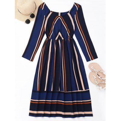 Buy DEEP BLUE M Striped Long Sleeve Mid Calf Dress for $21.20 in GearBest store