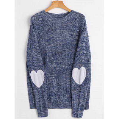 Heart Elbow Patch Crew Neck Sweater