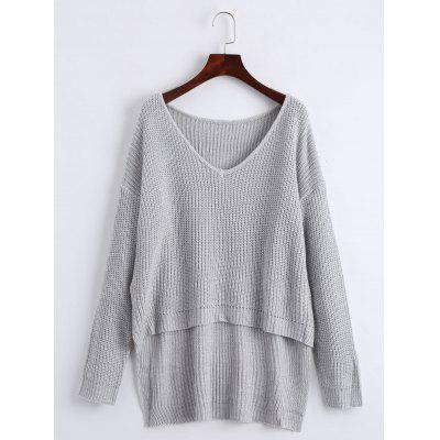 Buy GRAY V Neck Drop Shoulder High Low Chunky Sweater for $25.30 in GearBest store