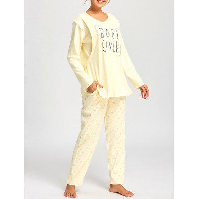 Buy LIGHT YELLOW M Floral Nursing Cotton Pajamas Set for $36.40 in GearBest store