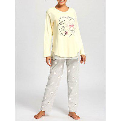 Buy LIGHT YELLOW L Nursing Cotton T-shirt with Floral PJ Pants for $27.63 in GearBest store