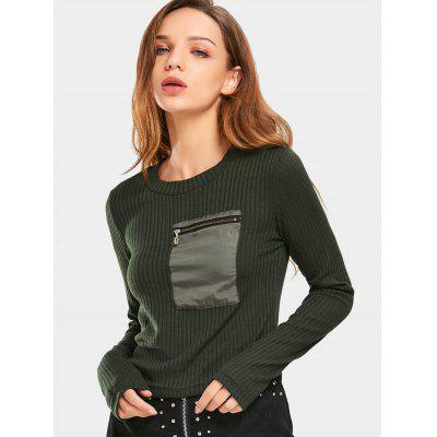 Ribbed Zippered Pocket Knitted Top 224572204