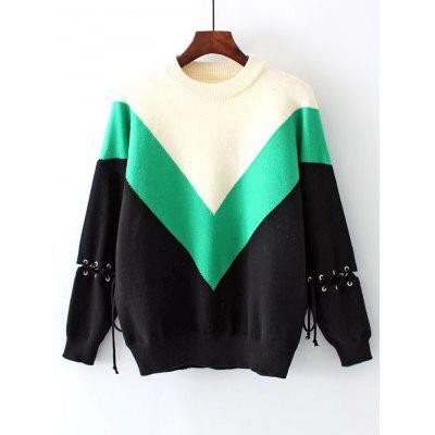 Lace Up Color Block Drop Shoulder Sweater