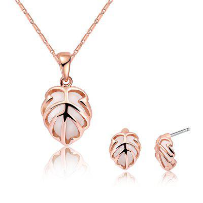 Buy ROSE GOLD Faux Opal Leaf Necklace and Earring Set for $10.56 in GearBest store
