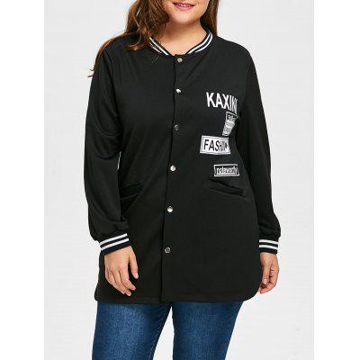 Plus Size Letter Striped Coat with Pocket