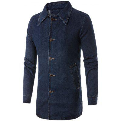 Turndown Collar Button Up Denim Mantel