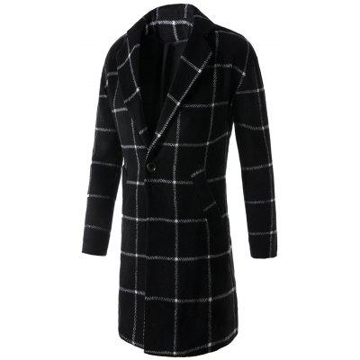 Ein Knopf Revers Graphic Print Checked Coat