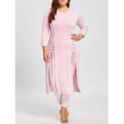 Lace-up Plus Size Long Sleeve Maxi Dress