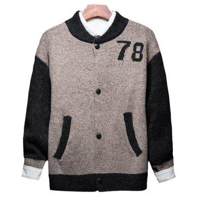 78 Graphic Two Tone Button Up Strickjacke