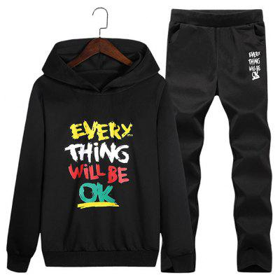 Graphic Print Hoodie und Sweatpants Twinset