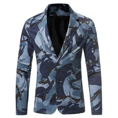 Revers Single Breasted 3D Camouflage Blazer