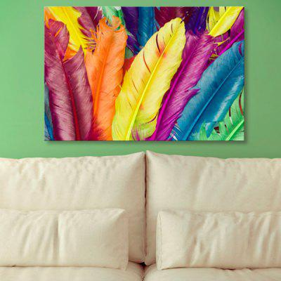 Feather Print Wall Art Canvas Painting