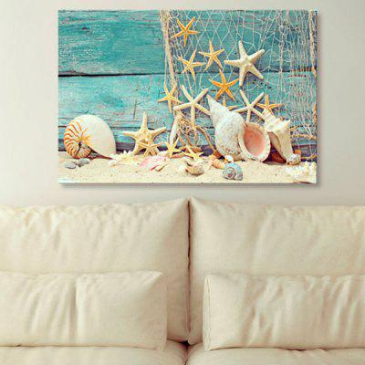 Starfish Wood Grain Print Wall Art Canvas Painting