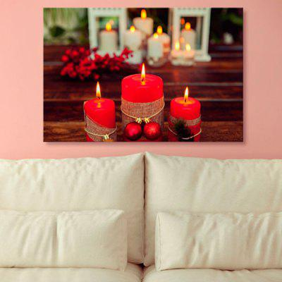 Christmas Candle Print Wall Art Canvas Painting