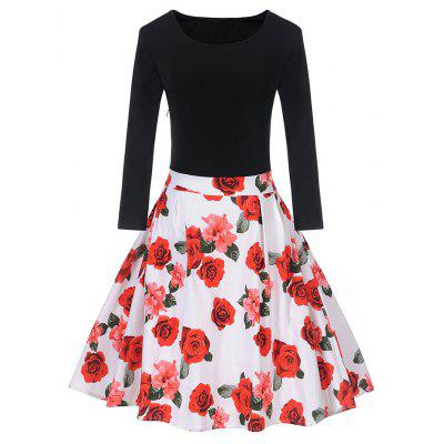 Vintage Floral Print Pin Up Skater Dress
