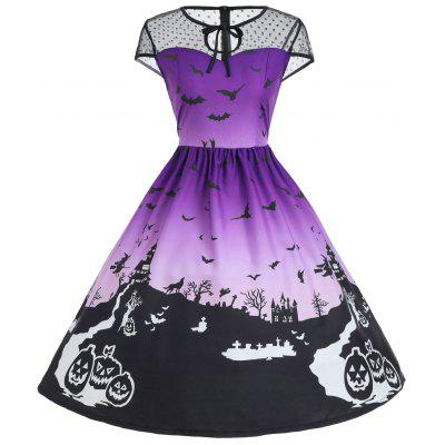 Halloween Mesh Insert Vintage A Line Dress tulle trim layered knee length tee dress