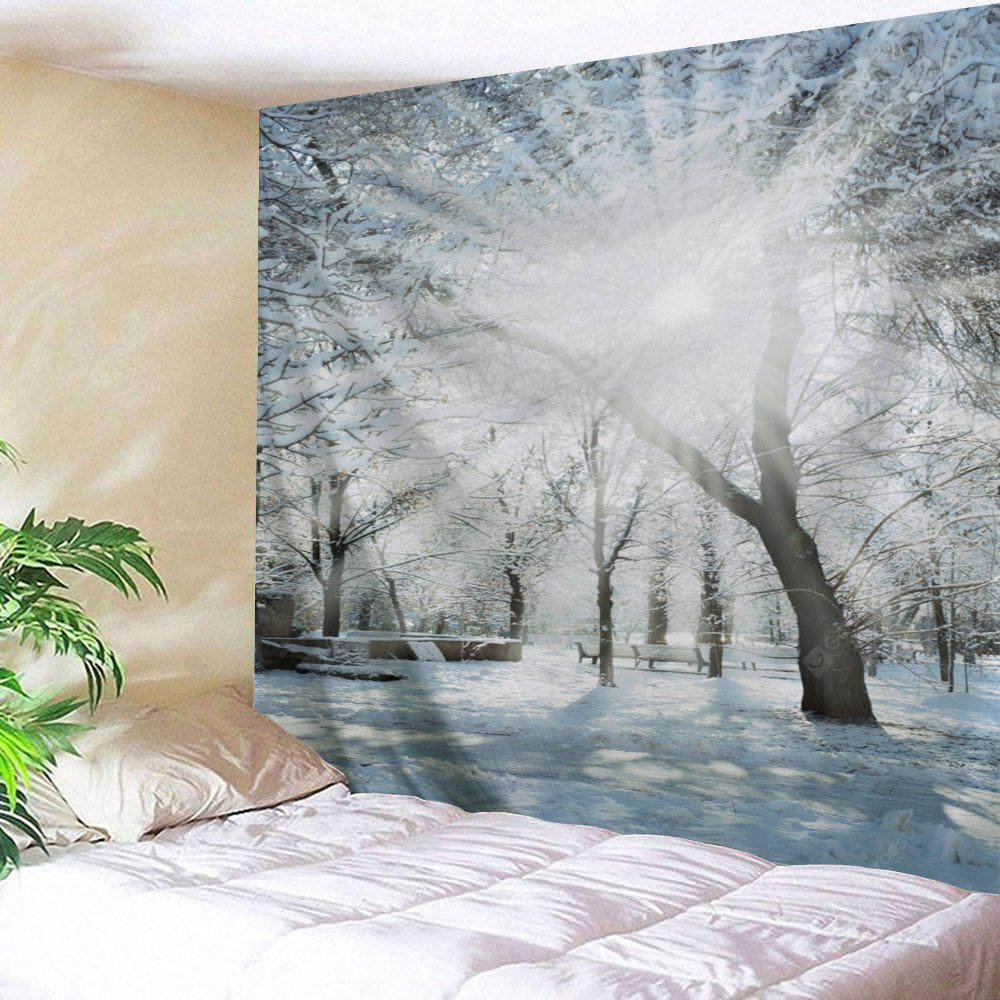 Wall Hanging Art Snowy Forest Sunlight Print Tapestry