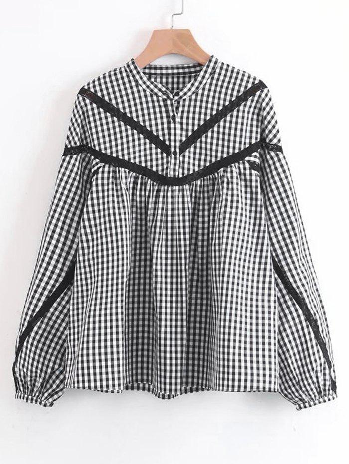 Checked Lace Trim Half Buttoned Blouse