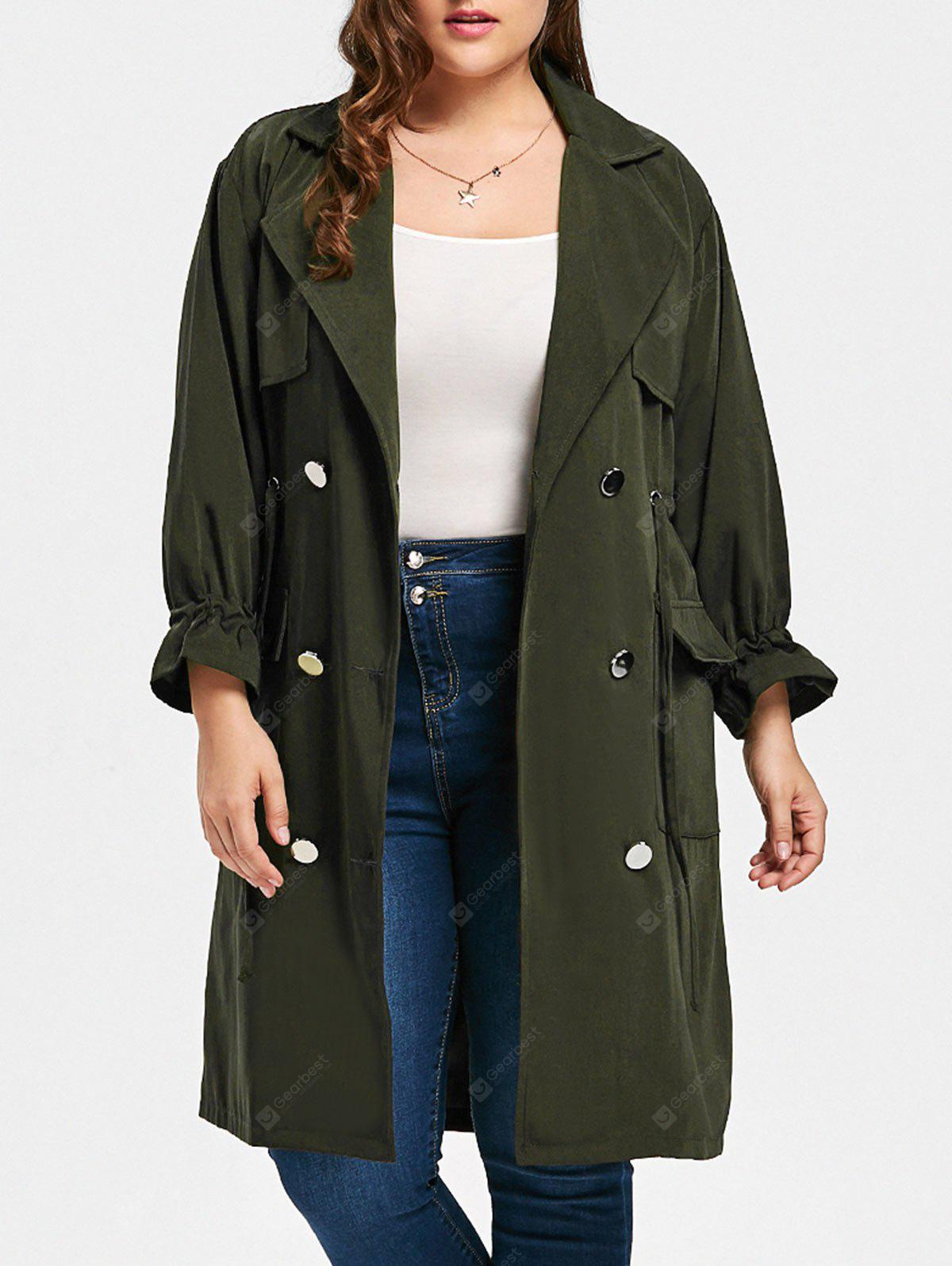 Plus Size Drawstring Waist Slit Trench Coat