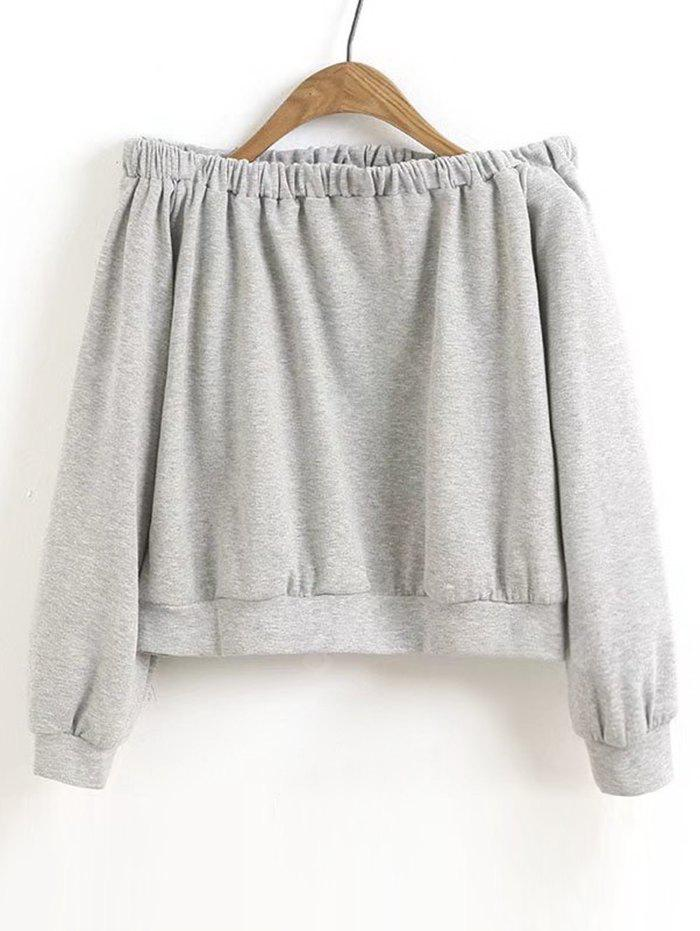 Off Shoulder Casual Cropped Sweatshirt