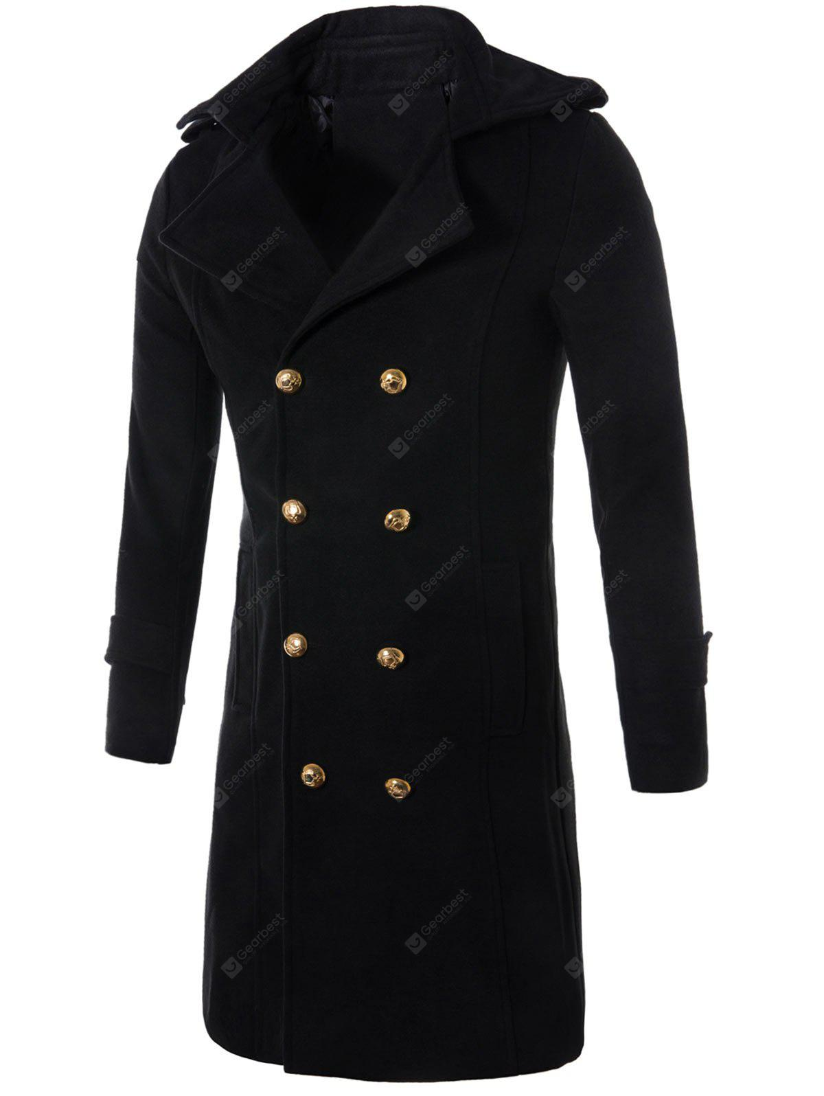 Double Breasted Longline Wollmischung Trenchcoat