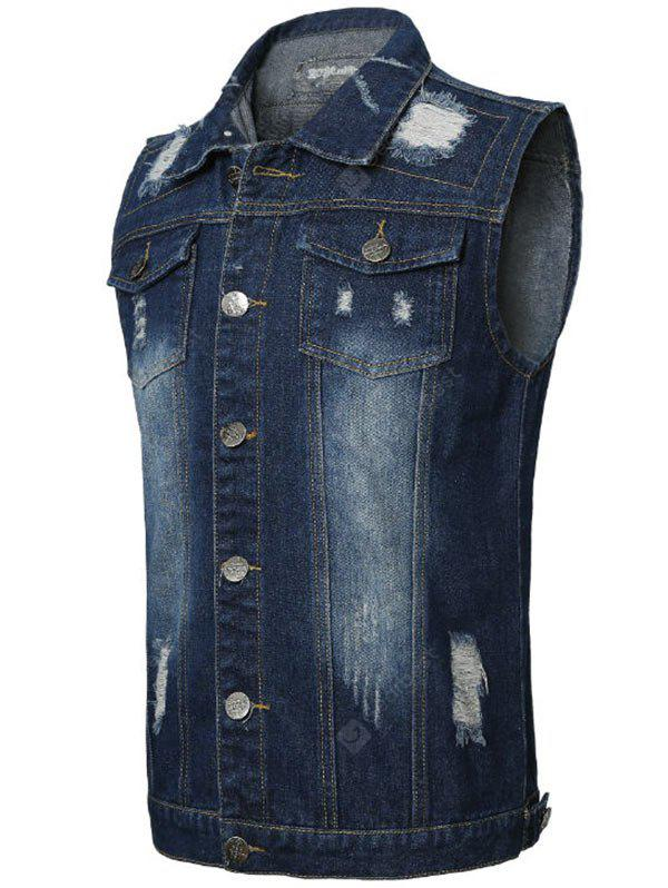 Brusttasche Distressed Denim Weste